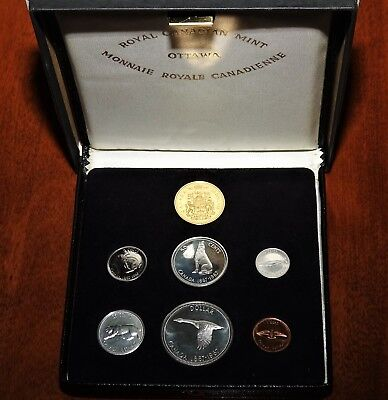 1967 Royal Canadian Mint Proof-Like 7 SILVER Coin Set incl. Box & 2017 GOLD...