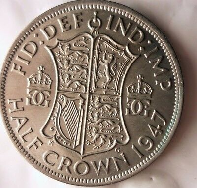 1947 GREAT BRITAIN 1/2 CROWN - Scarce Date - AU/UNC Coin - Lot #920