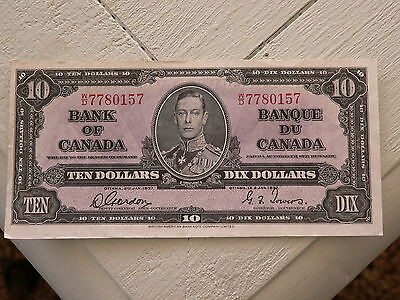 Excellent Condition  1937 Bank of Canada $10.00 Bank Note W/D Gordon / Towers