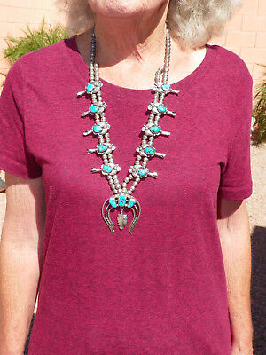 Native American Sterling & Turquoise Navajo Squash Blossom Necklace - 113 Grams