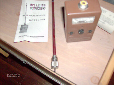 Vintage Delmhorst Instrument F-4 Hay Moisture Meter with Probe Made in USA