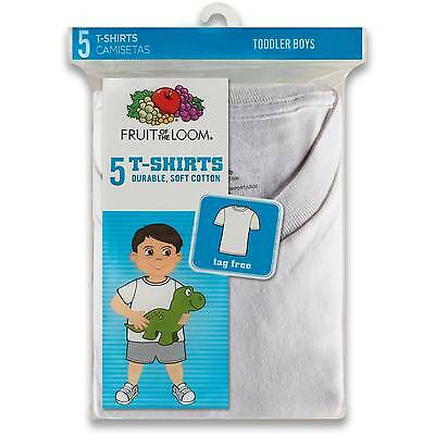 Fruit of the Loom Toddler Boy White Crew T-Shirts, 5-Pack Sizes 2T/3T, 4T/5T NEW