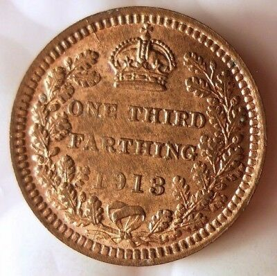 1913 GREAT BRITAIN 1/3 FARTHING - AU Uncommon Date/Type Coin - Lot #920