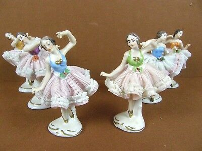 Lot of 6 Vintage German Dresden Lace Ballerina Dancer Figurine Statues