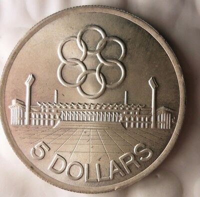1973 SINGAPORE 5 DOLLARS - AU/UNC - Very Rare Silver Crown Coin - Lot #920