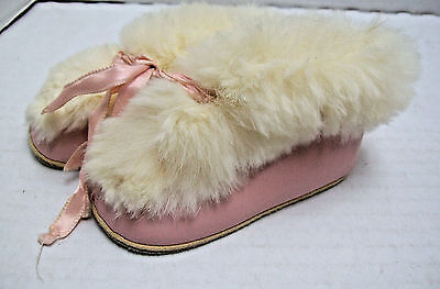Vintage ANTIQUE  40'S 50'S Pink Leather Baby Slippers Booties  Rabbit Fur Edge