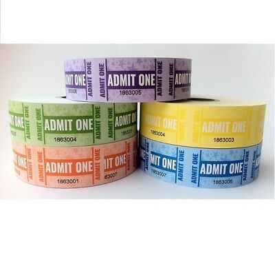 1 x Roll of 1000 Admit One Tickets Assorted Colours 00560