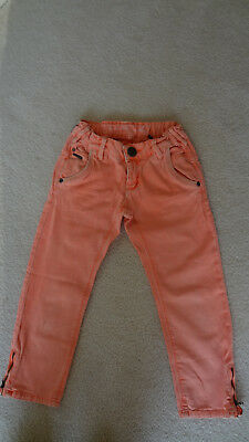 Girls 'Tumble n Dry' Orange Striped 3/4 Jeans (Size 7/8)