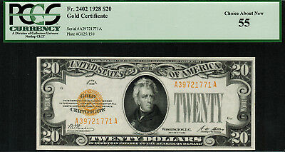 1928 $20 Gold Certificate FR-2402 - PCGS 55 - Choice About New
