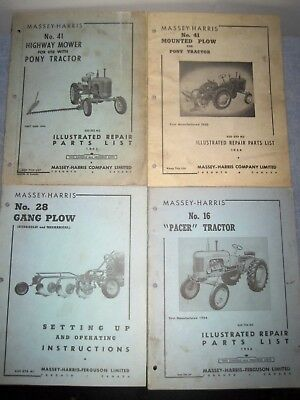 Vintage Lot of 4 Massey Harris 1950's Tractor Plow Parts Books. Pacer Pony Gang