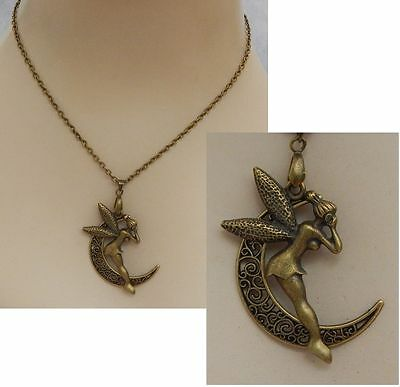 Gold Fairy Moon Pendant Necklace Jewelry Handmade NEW Adjustable Accessories