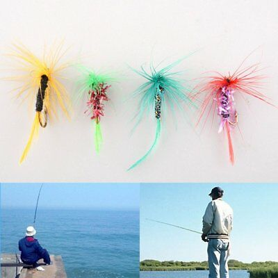 Set Of 4pcs Various Dry Fly Hooks Tackle Fishing Salmon Flies Lures Useful NEW