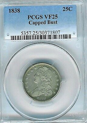 1838 Capped Bust Quarter : PCGS VF25