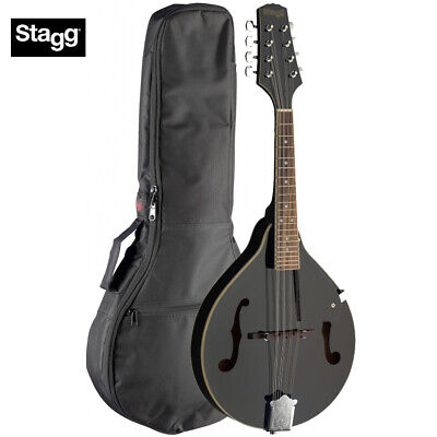 Stagg M20 A-Style Tear Drop Bluegrass 8 String Mandolin - Black with Padded Bag