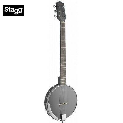 STAGG 6-STRING OPEN BACK BANJO GUITAR w/ BLACK REMO HEAD - BJW-OPEN