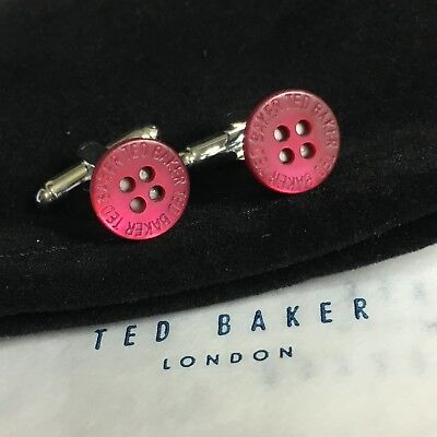 Mens Ted Baker Magenta Mother Of Pearl Shirt Buttons Silver Plated Cuff Links