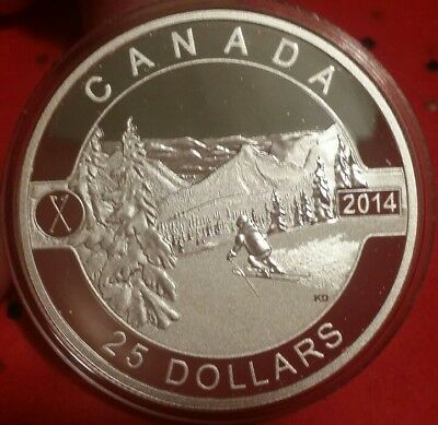 Canada 2014 $25 Skiing Canada's Slopes 1 oz Pure 9999 Silver Proof Coin O Canada