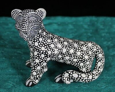 Black & White Spotted Jaguar Clay Figure Hand Made Mayan Chiapas Mexico Folk Art