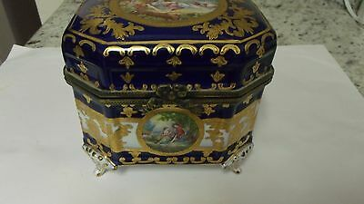 Limoges large footed Jewelry Box, Dark Blue with gold inlaid hand painted 6x5x5