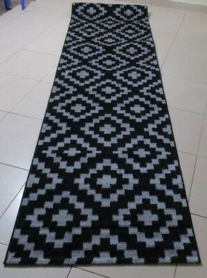 New Black/grey Modern Heatset Floor Hallway Runner Rug 80X300Cm