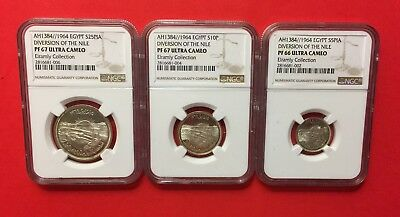 "Egypt-1964 (Ah1384) 3 Silver Proof-Ngc Graded Coins Set ""diversion Of The Nile""."