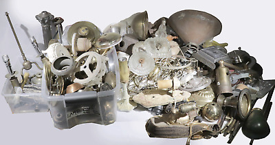 Vtg Lamp Parts Huge Lot Caps Cups Bases Brass Cast Iron Mix Antique To Modern