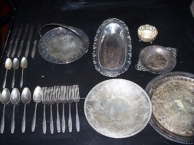 Vintage &  Antique Mixed Silverplated Bowls Trays Flatware Lot