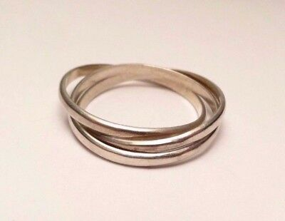 Triple Interlocking 3 Band Ring Sterling Silver 925 Size 10