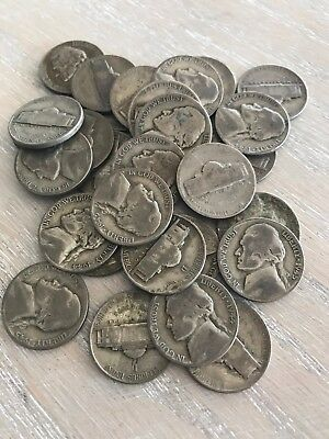 Jefferson War Nickels- Quantity 10  - circulated - silver