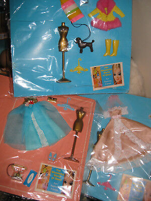 3 Vintage 1960's Topper Dawn Doll Fashion Outfits - On Backing Cards