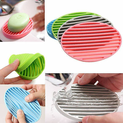 Flexible Bathroom Silicone Soap Dish Storage Holder Soapbox Plate Tray Drain New