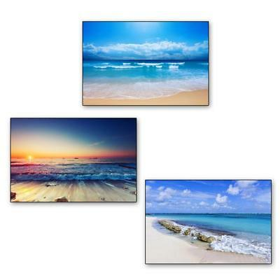 Tropical Beach Ocean Sea Waves Clouds Sky Art Silk Poster Print home Decor