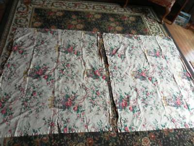Vintage Draperies With Birds And Flowers