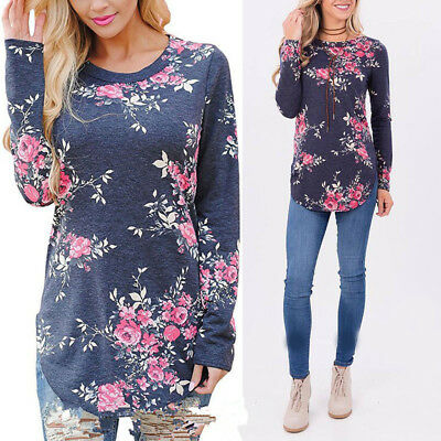 Women Fashion Long Sleeve Casual Loose Tops T Shirt Ladies Floral Blouse Top