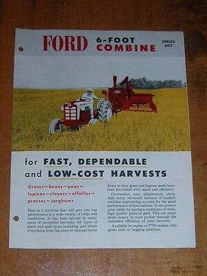 Vintage 1959 Ford 6 Foot Combine 607 Series Color Tractor Brochure Nice 4 Pages