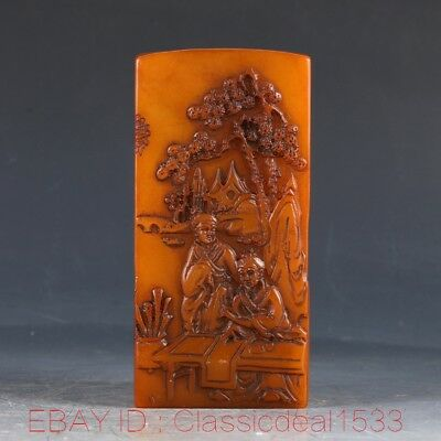 100% Natural Shoushan stone Hand Carved Old Man & Pine Tree Seal PA0178