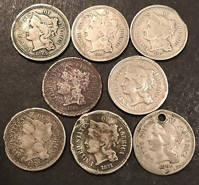 LOT OF 8 LOW GRADE **ALL DIFFERENT** THREE CENT NICKELS OLD US COINS .99 Start