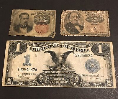 $1 Silver Certificate 1899 Black Eagle - 2 Fractional Currency Notes *LOW GRADE*