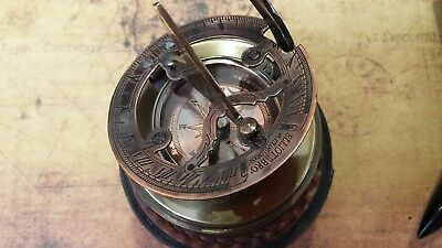 Solid Brass Nautical Compass Sundial In Leather Case