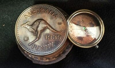 Solid Brass Nautical Australian Penny Compass In Leather Case