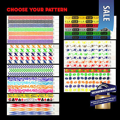 100 x Tyvek, Party, ID, Event, Wristbands **Choose Your Pattern!** SALE