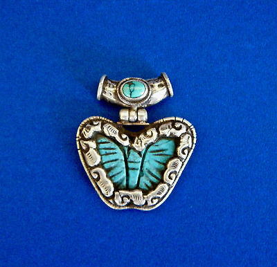 Vintage Turquoise Resin Butterfly Pendant Repoussee Tibetan Silver