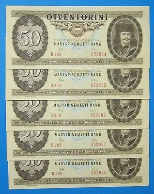1983 Hungary 50 Forint FIVE CONSECUTIVE 1983-11-10 UNCIRCULATED