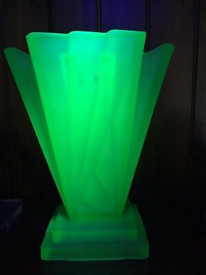 Bagley Grantham Uranium Glass Variation Vase Art Deco