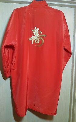 Red Silk Kimono L gold embroidery Japan vintage robe costume loungewear jacket