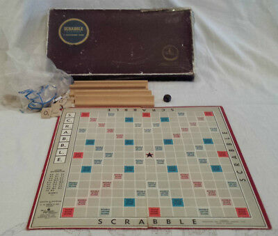 Vintage 1950's Upson Urban Scrabble A Crossword Game With Wooden Tiles & Racks