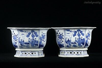 A Pair Chinese Beautiful Blue and White Porcelain Immortals and Crane Flower Pot