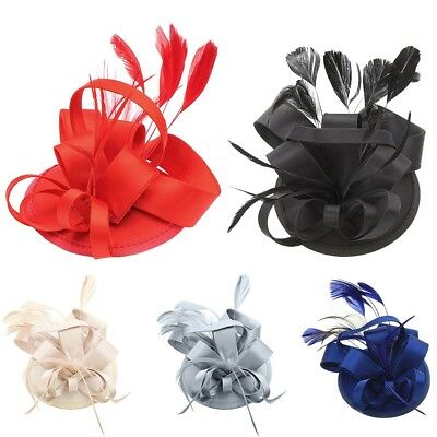 Lady Vintage Satin Fascinator Hat Feather Hairgrip Clip Cocktail Wedding 5Colors