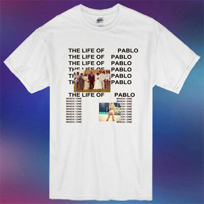 New Kanye West The Life Of Pablo Album Cover Logo Men's White T-Shirt Size S-3XL