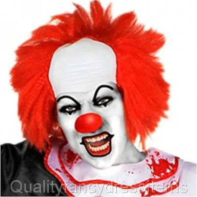 Halloween IT CLOWN WIG Pennywise Fancy Dress Costume Red Hair Horror Scary